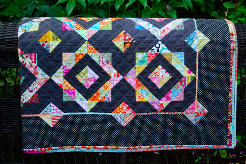 Lynne black and jewel tone quilt