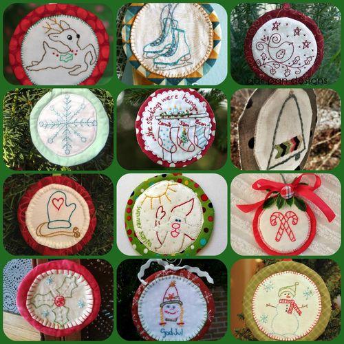 Aurifil ornaments 12 blocks Collage