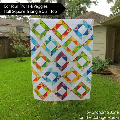 Fruit&VeggiesQuiltTop from the cottage mama