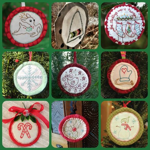 Aurifil ornaments 9 blocks Collage