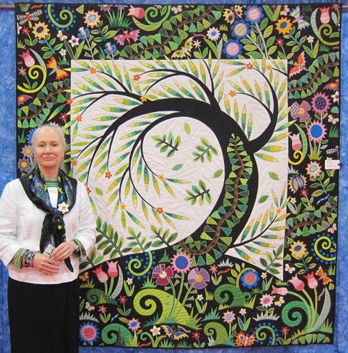 Jane Sassaman and her Willow Quilt