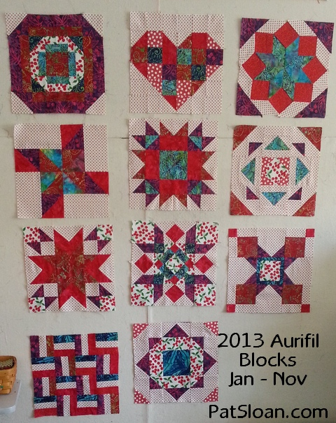 Pat Sloan Nov 2013 Aurifil Blocks Jan to Nov