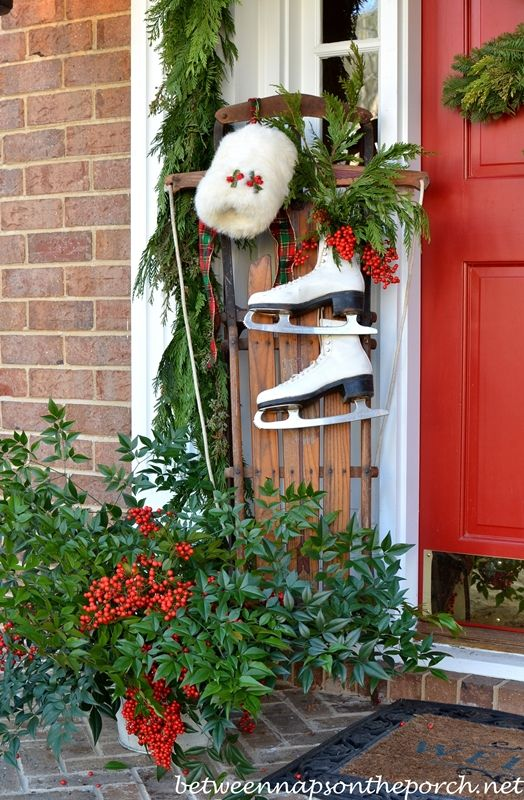 i really love this one with the front porch decorated actually there are a zillion ways i now want to decorate with skates - Ice Skate Christmas Decoration