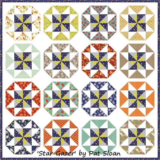 Pat sloan pattern Star Gazer cotton scrappy