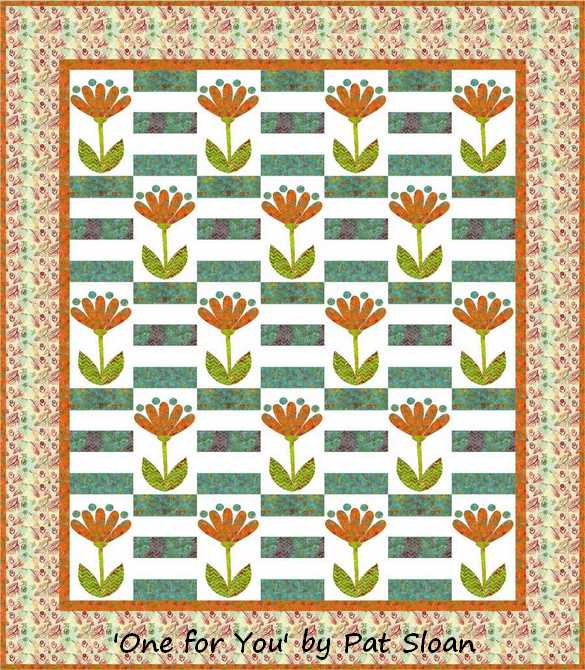 Pat sloan one for you batik aqua orange coneflower cream