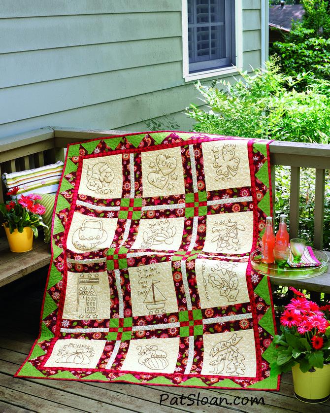 Pat Sloan seasonal redwork quilt
