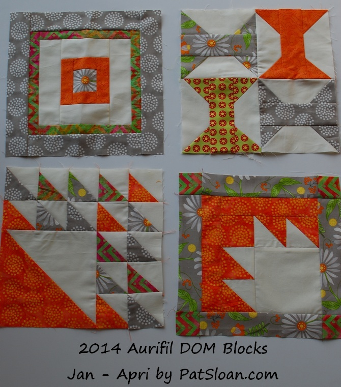 Pat sloan 2014 jan to april aurifil blocks
