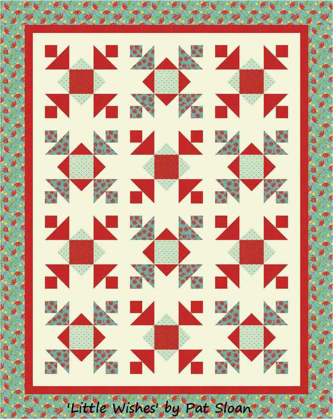 Pat sloan little wishes teal red  border