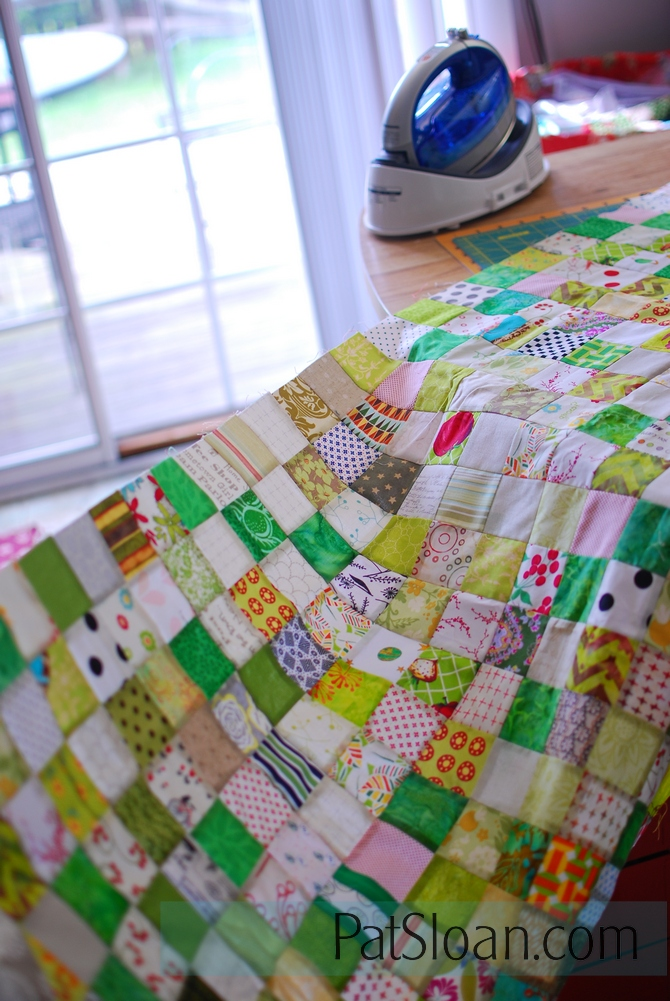 Pat Sloan green white 2 inch square quilt