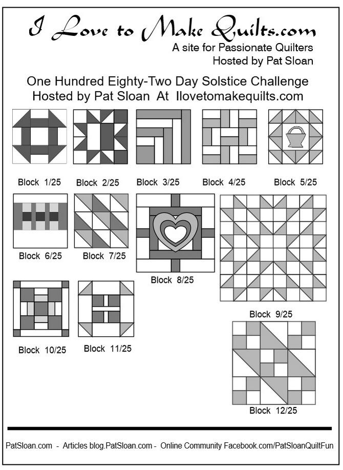 Pat Sloan Block 1 to 12 quilt Solstice Challenge