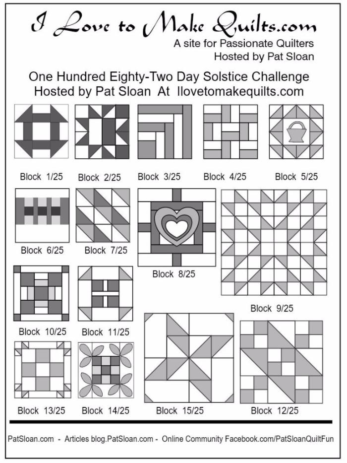 Pat Sloan Block 1 to 15 quilt Solstice Challenge