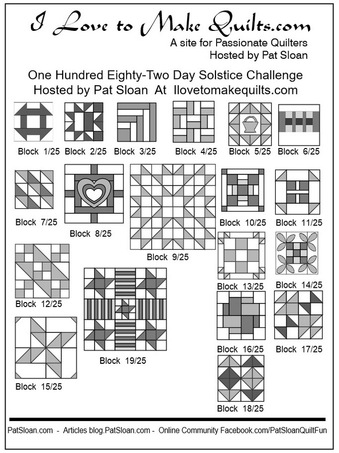 Pat Sloan Block 1 to 19 quilt Solstice Challenge