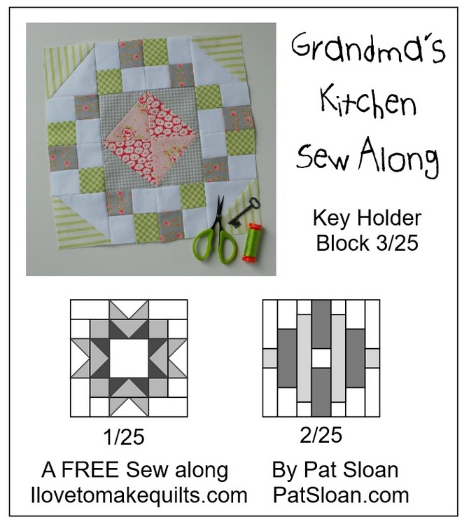 Pat Sloan Block 3 Key Holder Grandmas Kitchen button