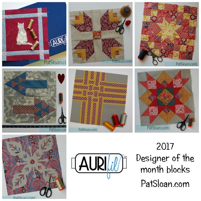 Pat Sloan 2017 Jan to July Aurifil DOM Blocks