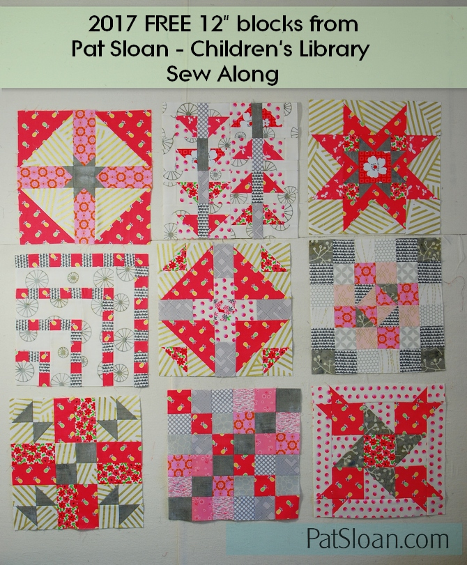 Pat Sloan Children library sew along all 9 blocks colorway 2