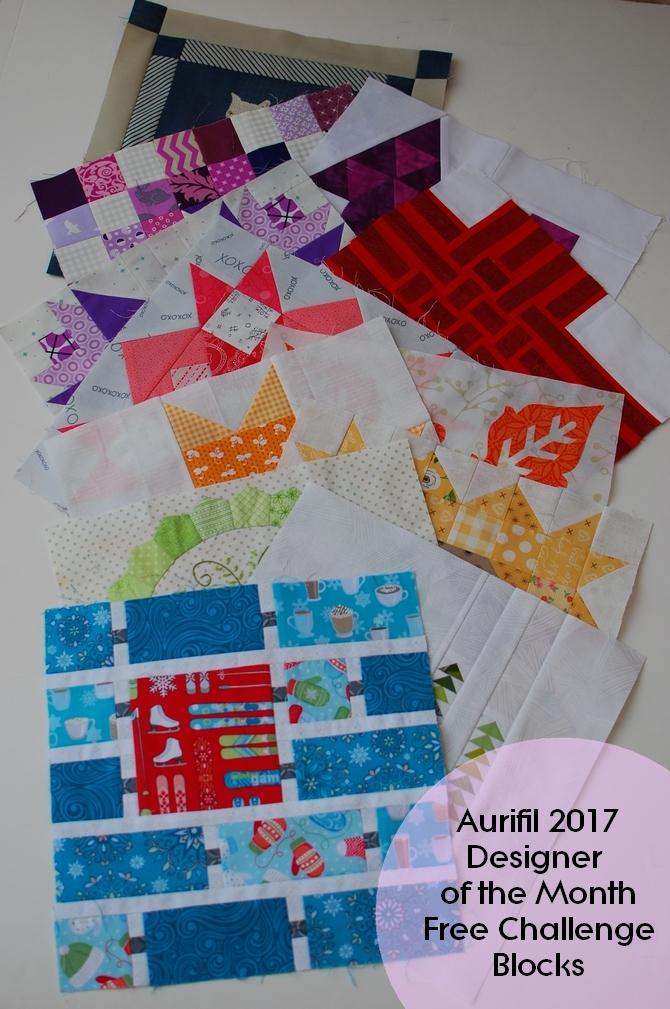Pat sloan 2017 Aurifil designer of the month blocks