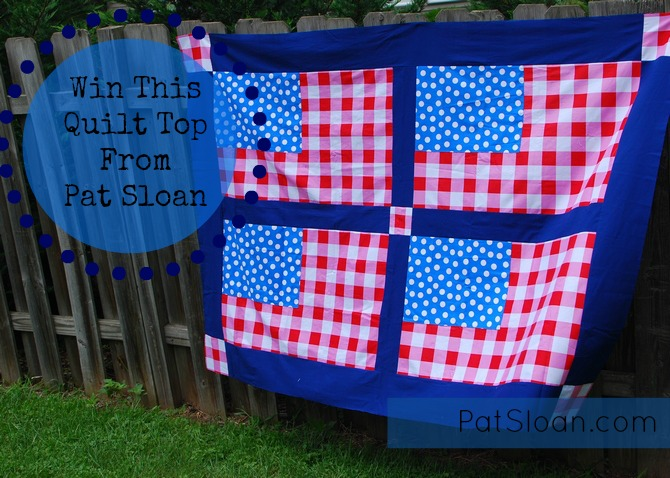 Flag quilt top given away button