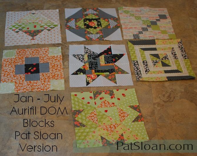 Pat sloan Jan to July Aurifil 2016 blocks