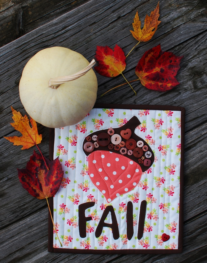 Pat Sloan Fall Acorn with words