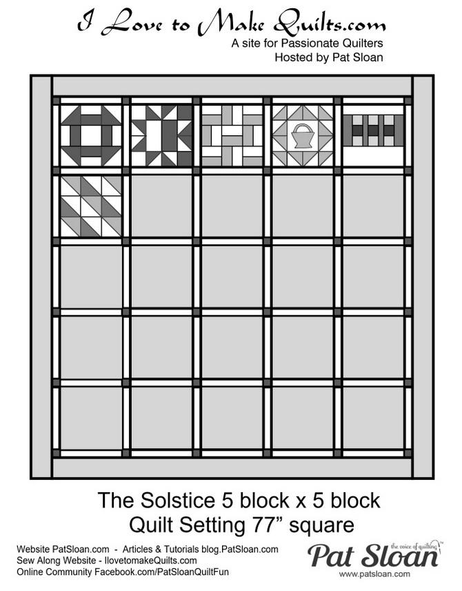 Pat Sloan 5 x 5 layout directions Solstice Challenge