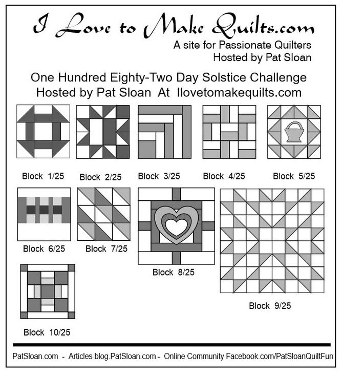Pat Sloan Block 1 to 10 quilt Solstice Challenge