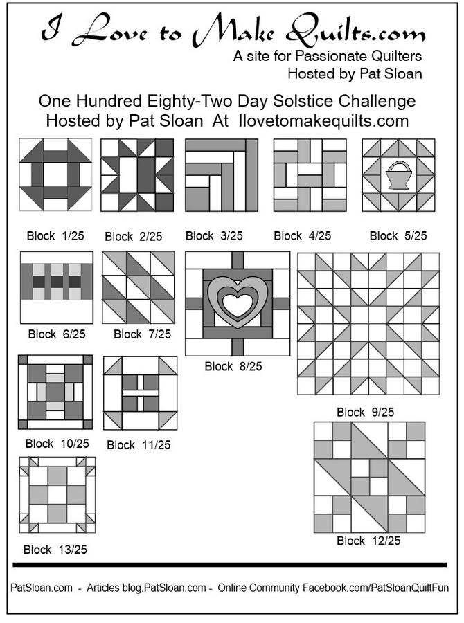 Pat Sloan Block 1 to 13 quilt Solstice Challenge