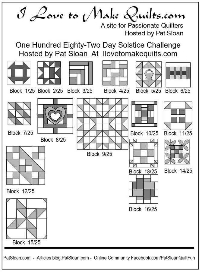 Pat Sloan Block 1 to 16 quilt Solstice Challenge