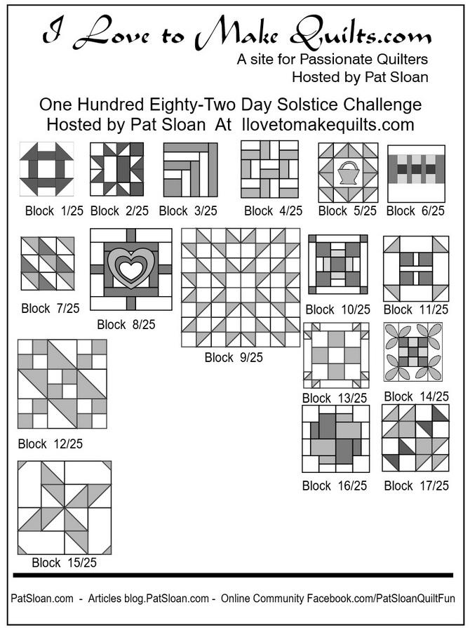 Pat Sloan Block 1 to 17 quilt Solstice Challenge