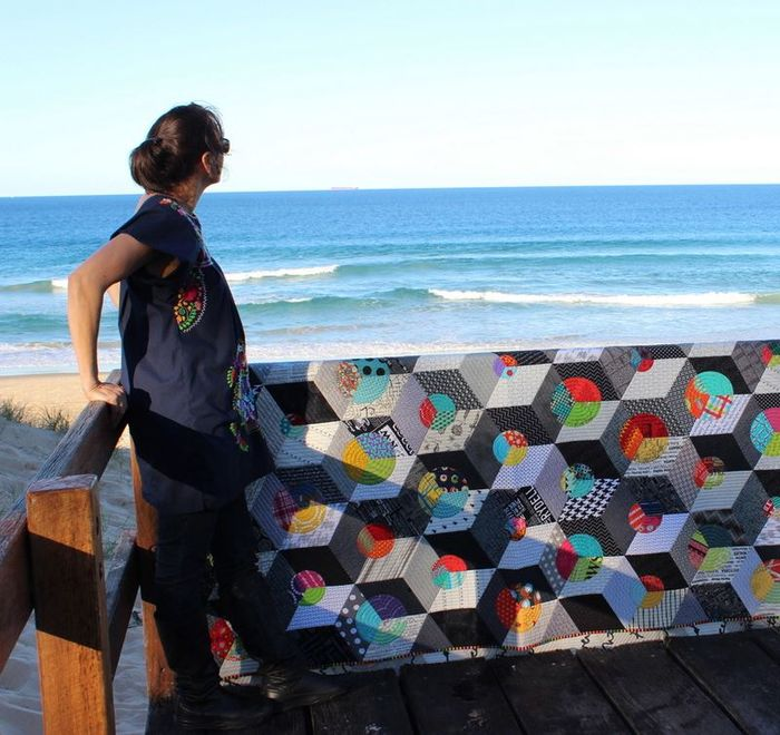 Lorena Uriarte quilt, Opal Essence. Taken up north at one of the beaches near Mooloolaba