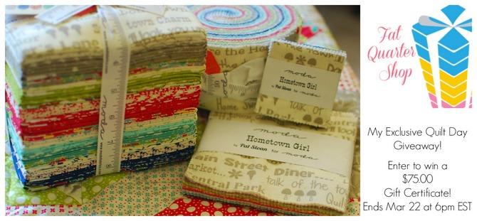 Pat sloan fat quarter shop quilt day giveaway