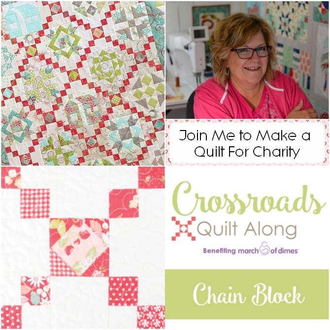 Pat Sloan crossroads charity quilt along chain blocks