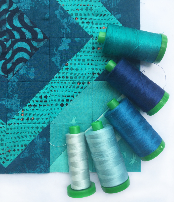 Into the blue block and thread