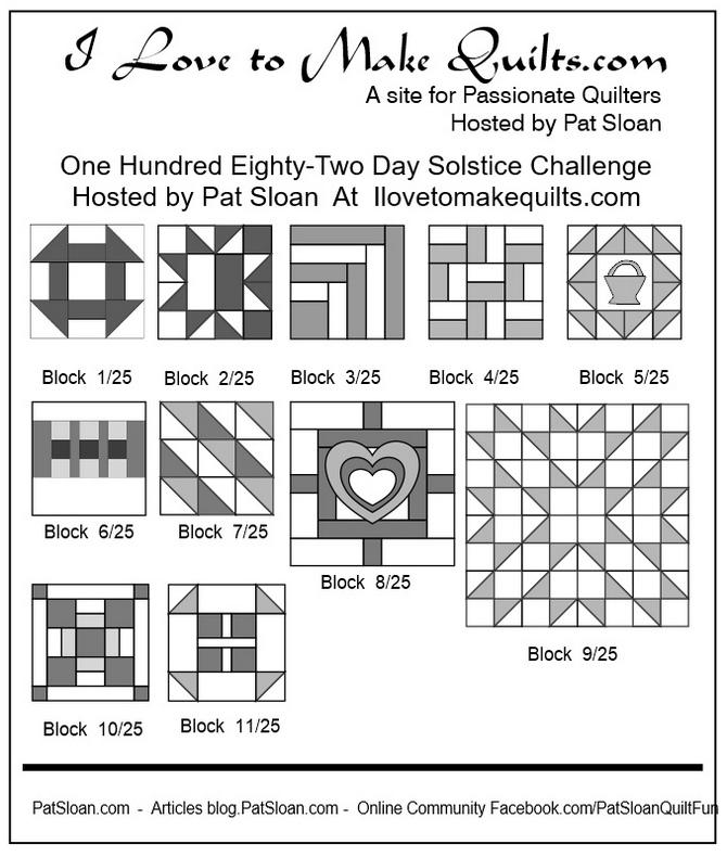 Pat Sloan Block 1 to 11 quilt Solstice Challenge