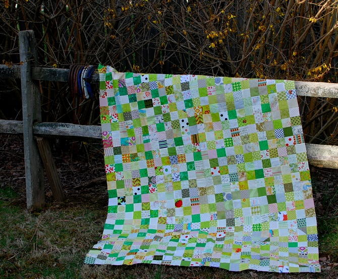 Pat Sloan green white 2 inch square quilt on fence 2