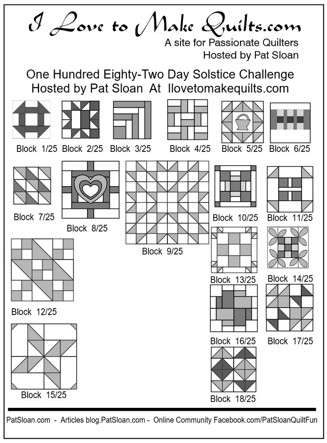 Pat Sloan Block 1 to 18 quilt Solstice Challenge