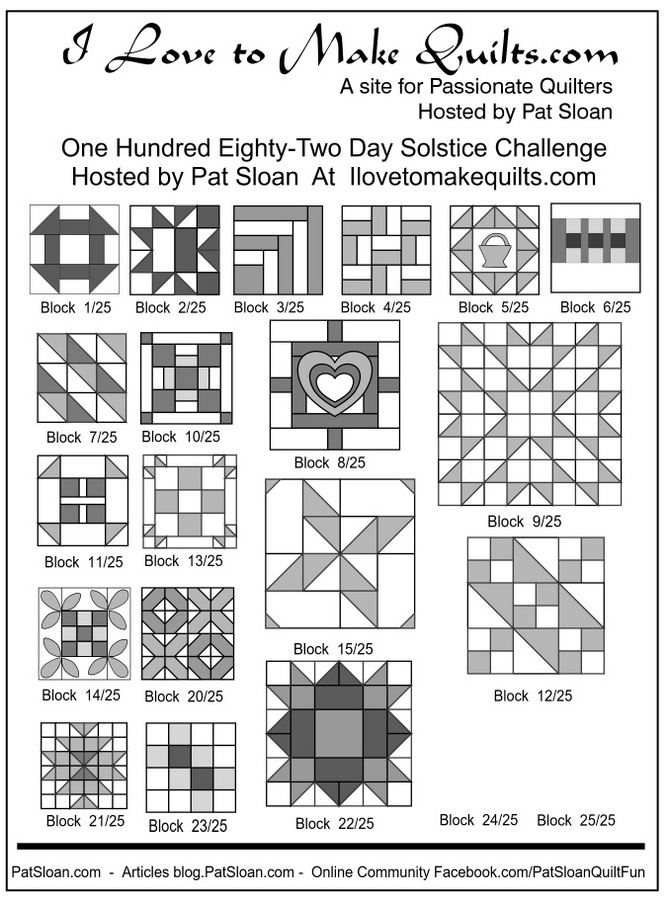 1 Pat Sloan 1 to 23 Solstice Block collage