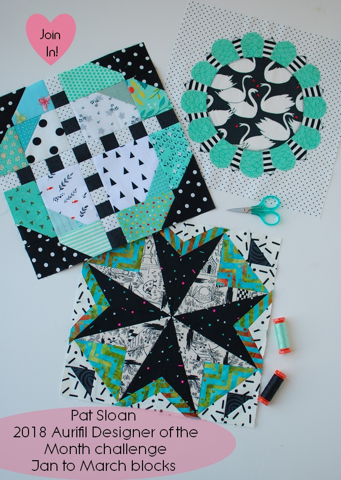 Pat Sloan 2018 Aurifil Jan to Mar blocks