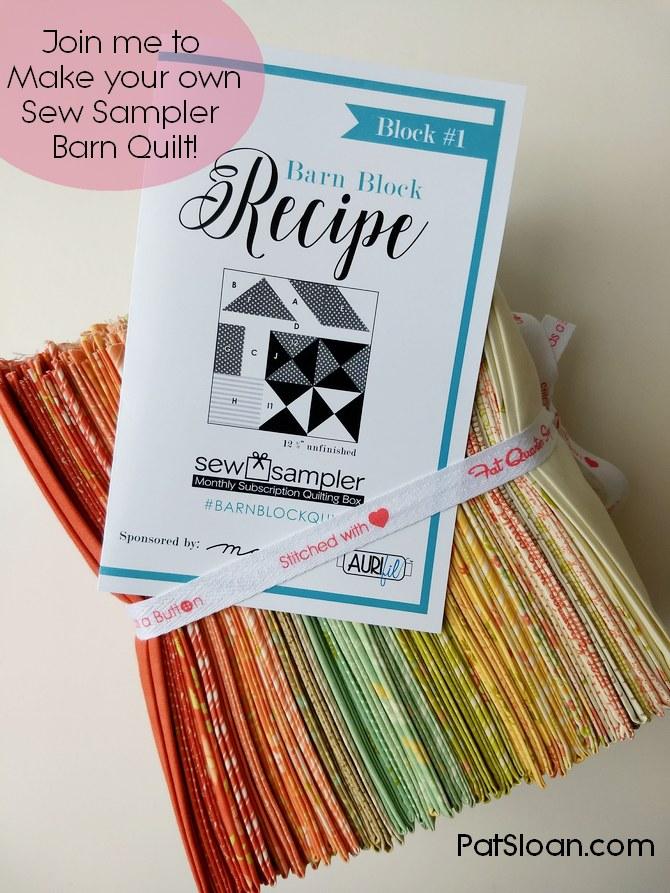 Pat Sloan Sew Sampler Barn Quilt block 1 pic 1