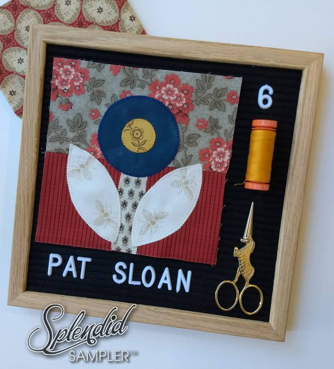 Pat Sloan Splendid Sampler Block 6 rose and dot