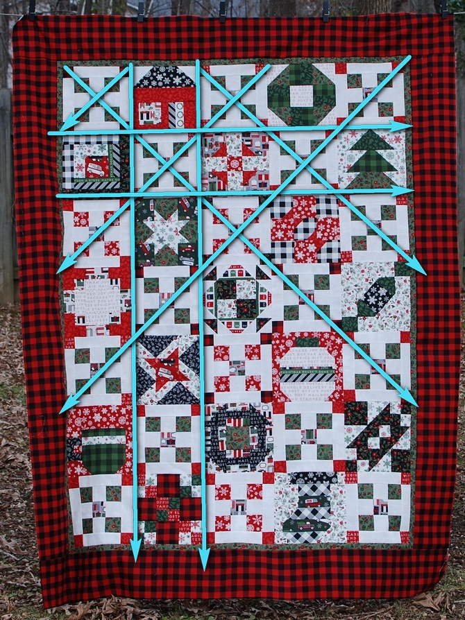 Pat Sloan Merry and Bright quilting grid lines