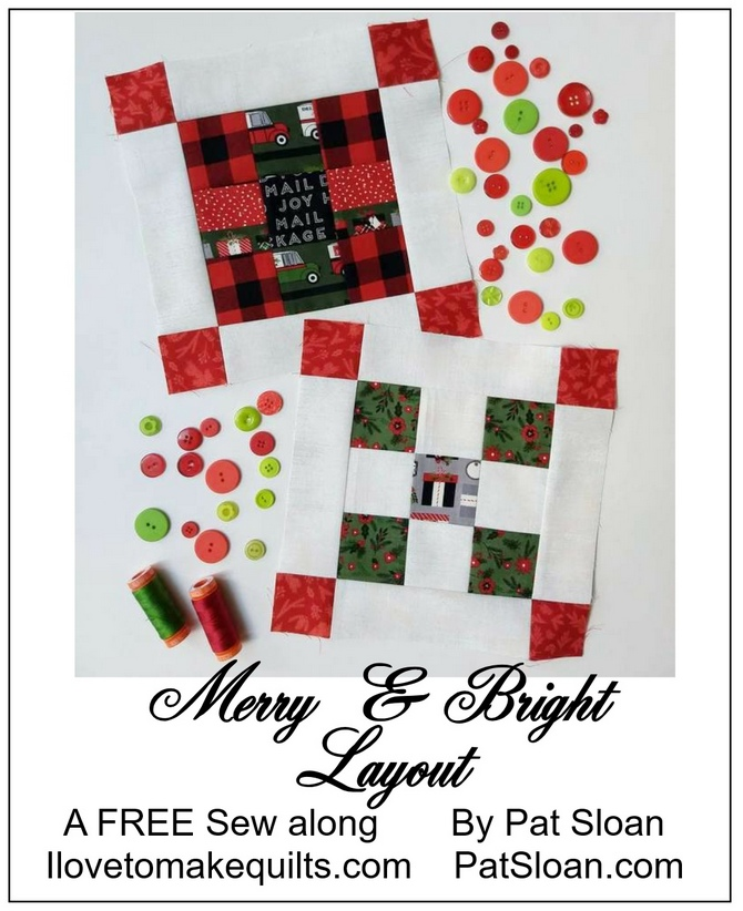 Pat Sloan layout Merry and Bright button