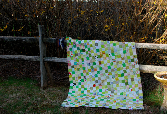 Pat Sloan green white 2 inch square quilt on fence 1