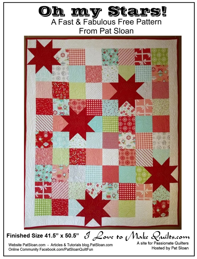 Oh My Stars Free Quilt Pattern by Pat Sloan - Pat Sloan's I