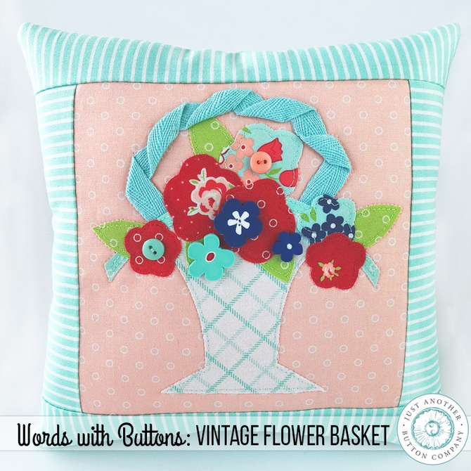 JABC Words with Buttons Bloom Vintage Flower Basket SQ2