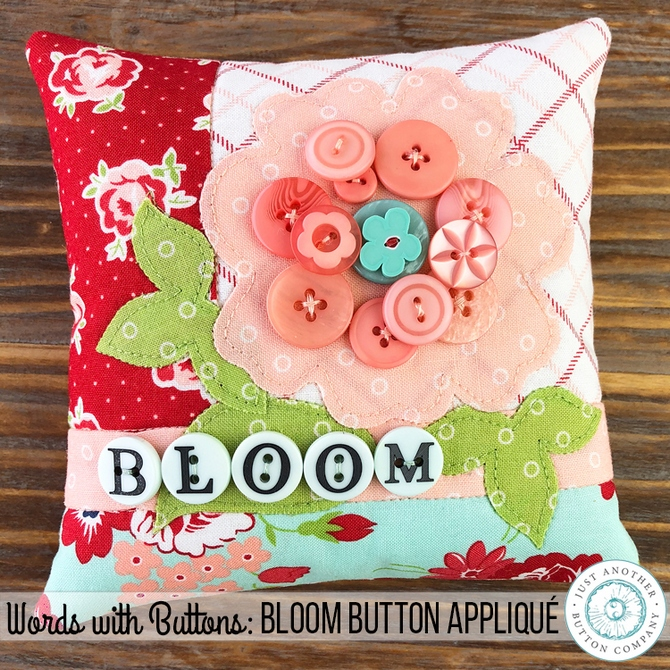 JABC Words with Buttons Bloom Button Applique SQ2