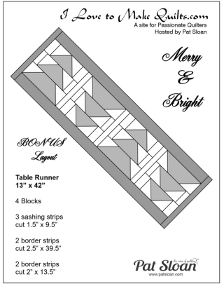 Pat Sloan Block 5 Merry and Bright table runner