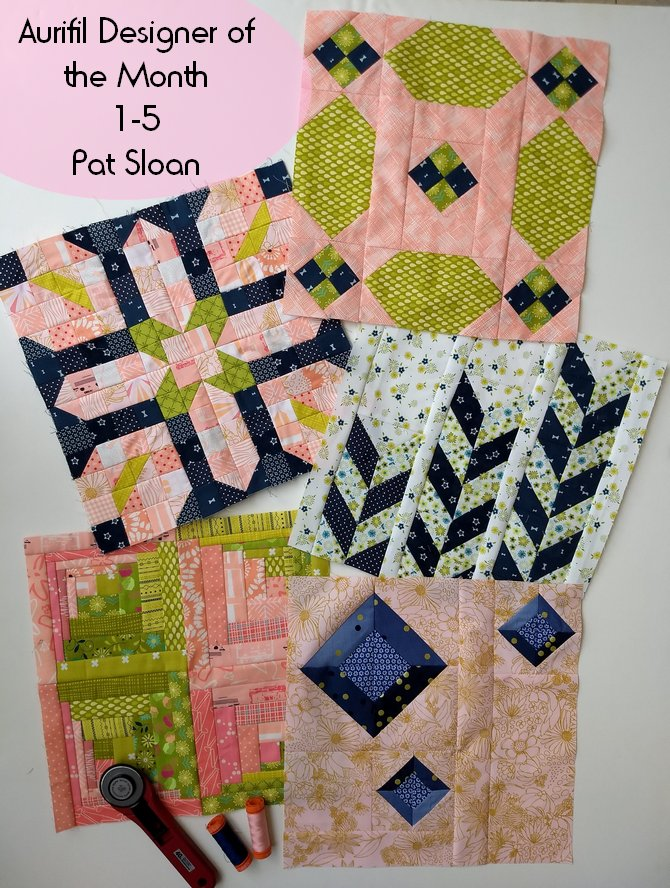 Pat Sloan Aurifil 2019 block 1 to 5