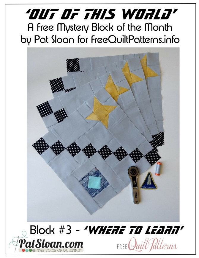 Out of this World FREE Block #3 + The Charity Quilt Along #3