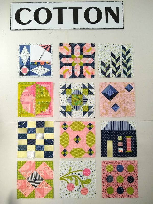 Pat sloan Aurifil 2019 Dec dom block 1 to 12