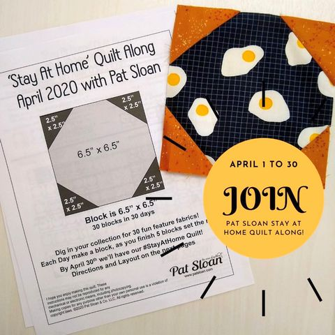 Pat sloan stay at home quilt along button